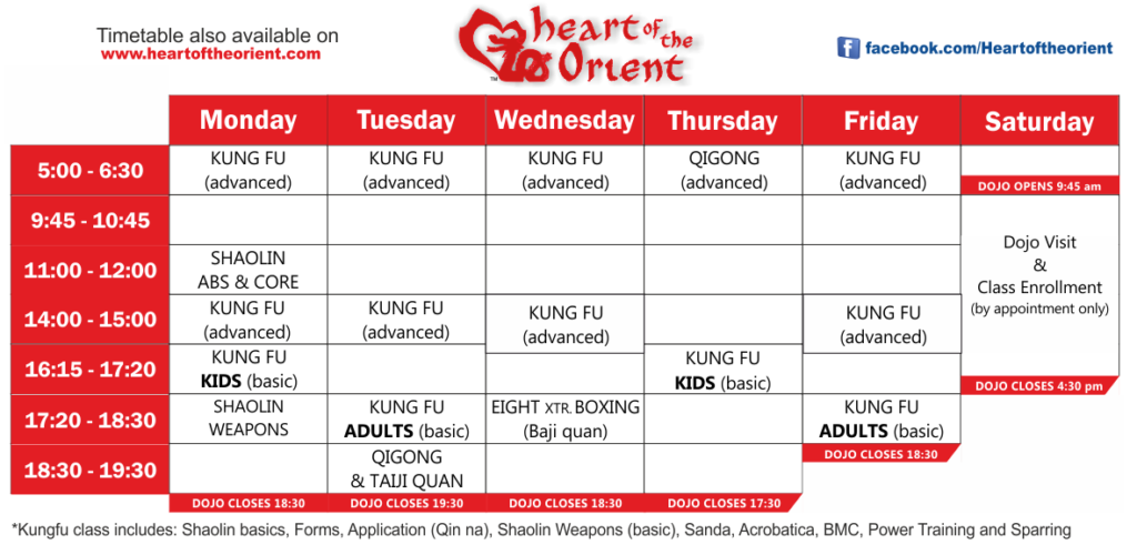 heart of the orient timetable